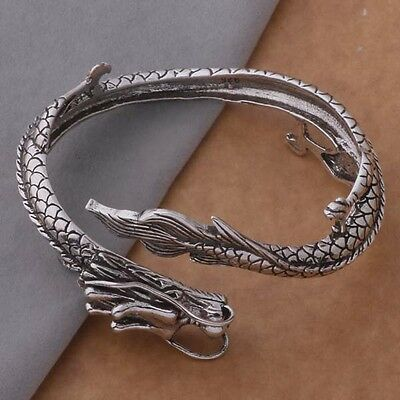 Retro Dragon Sterling 925 Silver Opening Bracelet Babgle Men's Gift Korean