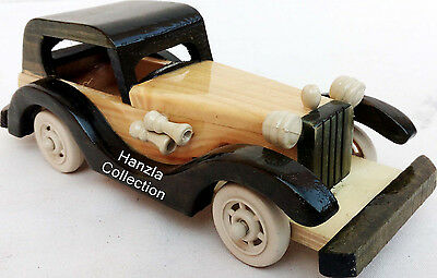 Vintage Handmade Old Model Wooden Car~Handcrafted Antique Classical Car Toy