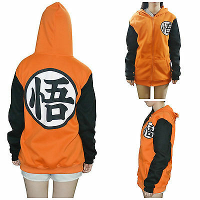 Dragon Ball Z Goku Hoodie Jumper Jacket Zip Up Sweatshirt Costume Anime Cosplay