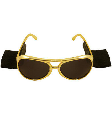 Gold Colour Rock N Roller Elvis Sunglasses With Attached Sideburns .