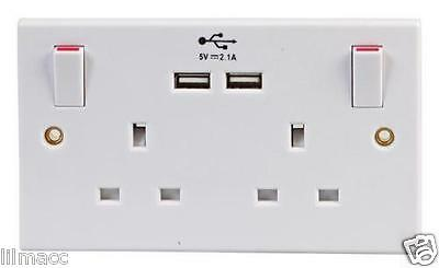 NEW! Double White Wall Faceplate 2 Gang Plug Socket 13A with 2 USB Outlets Ports