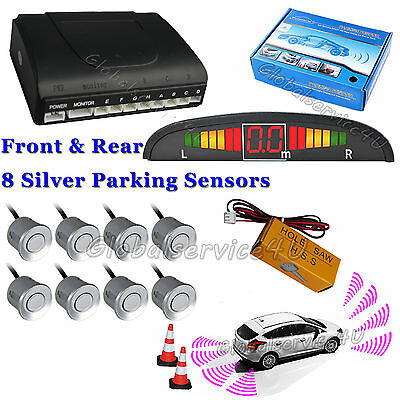 Car Reverse Parking Sensor Front Rear 8 Silver Sensors Buzzer Alarm Kit Display