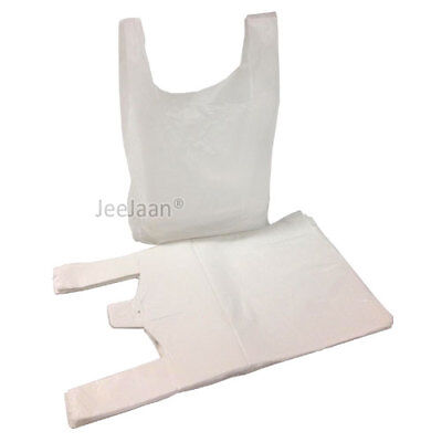 """100 x WHITE PLASTIC VEST CARRIER BAGS 10x15x18"""" 10mu *SPECIAL OFFER*"""