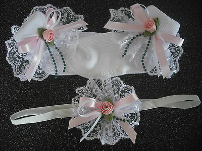 Girls Romany Frilly Socks In White & Pink  & Matching Hair Band  Sizes 3- 5 1/2