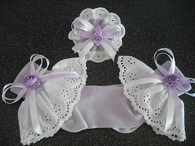 Girls Romany Frilly Socks In Lilac With Matching Bobble Sizes 6-8 1/2
