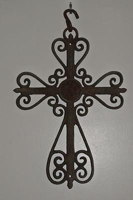 "Vintage Architectural Salvage Wrought Iron Ornate Large Cross 13 1/2"" Tall"