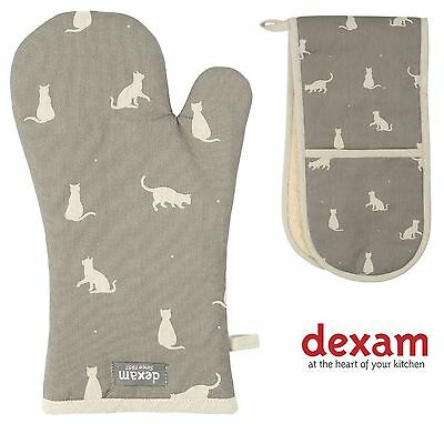 Rushbrookes Happy Cats Kitchen Oven Gloves Mits | Single or Double