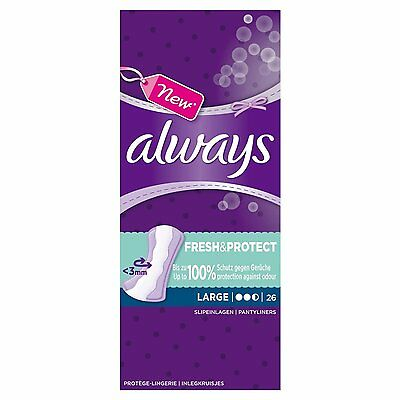 6 X Always Large Pantyliners with Odour-Neutralising ActiPearls 26's- 208 total