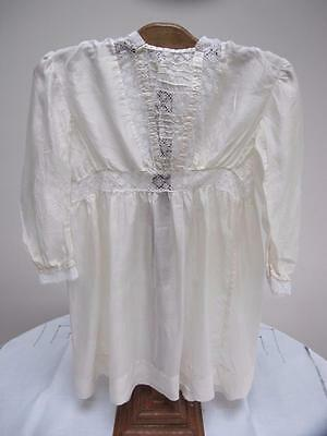 ANTIQUE EDWARDIAN CREAM SILK & CROCHET LACE INSERT GIRLS DRESS c1910