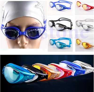 New Adjustable Waterproof Anti fog Swimming Glasses Goggles Outdoor Sports UK