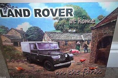 """LAND ROVER METAL WALL SIGN 16X12"""" 40x30cm SERIES 1 ON THE FARM,  GARAGE/SHED/DEN"""