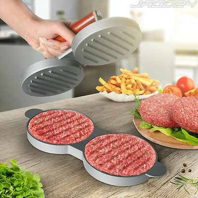 Double Hamburger Press Beef Burger Home Made Patty Maker Mould BBQ Grill Cooking