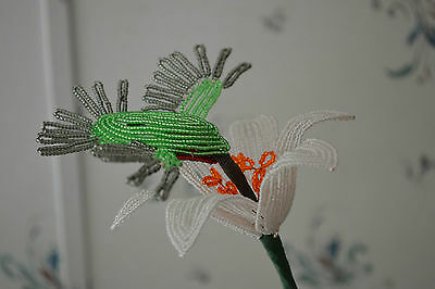 *NEW* French beaded Flowers Handmade potted Lily flower & Hummingbird