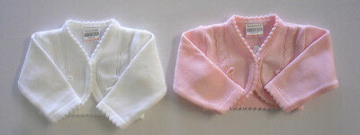 Baby Babies Girls Button Up Knitted Cardigan White Pink Newborn 0 6 Months NB