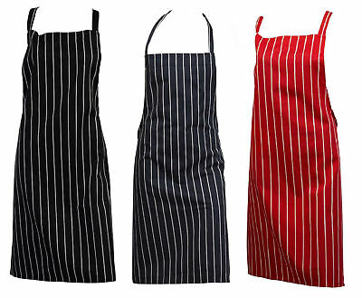 Woven Stripe Butchers Bib Apron 100% Cotton Professional Kitchen Catering Pinny