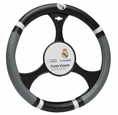 Official Real Madrid FC Black Grey PVC Car Steering Wheel Cover Glove 37-39cm