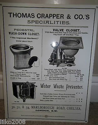 Thomas Crapper & Co, Large Metal Wall Sign 40X30Cm, 16X12 Inch,  Toilet/bathroom