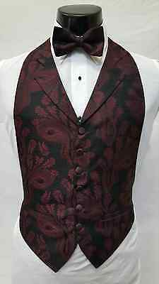 Mens Size Medium Burgundy Red Black Paisley Tuxedo Tux Vest Bow Tie Cheap Formal