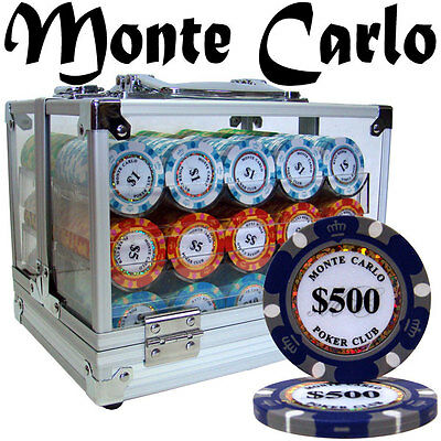 NEW 600 Pc Monte Carlo 14 Gram Clay Poker Chips Set Acrylic Carrier Case Custom