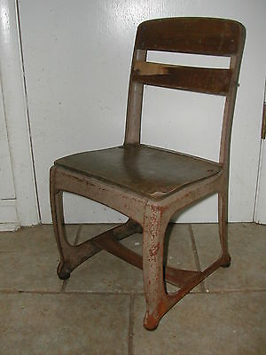 "Antique Child Desk Chair Wood w/metal frame 21-1/2""tall 11""seat height Patented"