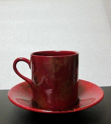 CROWN DUCAL England COFFEE CAN DEMITASSE CUP SAUCER SPECTRIA FLAMBE Rare 1930
