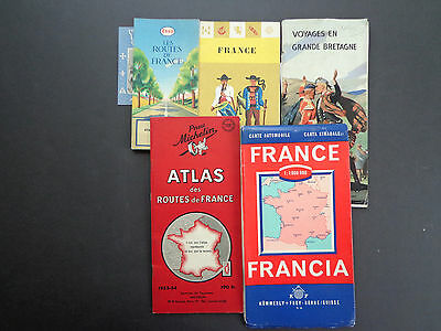 9 Vintage French travel guides/maps c. 1950s INV2410