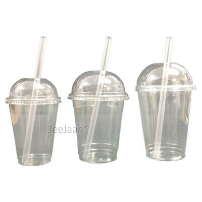 MILKSHAKE CUPS WITH DOMED LIDS AND No STRAWS CLEAR PLASTIC TABLEWARE JUICE GLASS