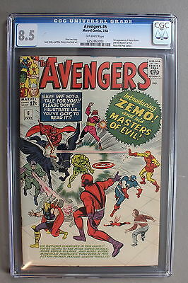 AVENGERS #6 Stan Lee KIRBY 1st BARON ZEMO Masters of Evil 1964 Movie CGC VF+ 8.5