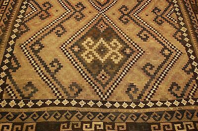 Circa 1900s ANTIQUE RARE SIZE CAUCASIAN KILIM 8x15.2 VERY HIGH KPSI_KAZAK DESIGN
