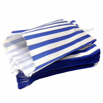 "100 Blue & White Candy Stripe Paper Sweet Bags Wedding 5""X 7"" Pick ""n"" Mix Bags"