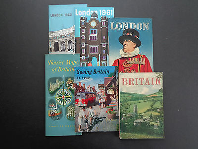 6 Vintage Britain/London travel memorabilia/guides; mid 20th cent. INV2413