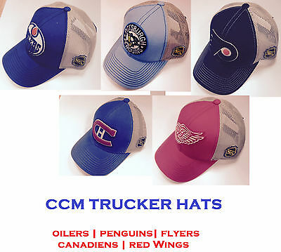 CCM NHL Meshback Trucker Hat! CNP36Z Cap, Montreal Pittsburgh Detroit Philly Edm