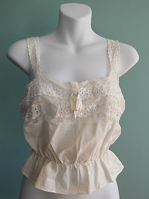 Vintage 1920s cotton lace camisole top