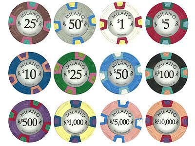 NEW 300 PC Milano Pure Clay 10 Gram Poker Chips Bulk Lot Pick Your Denominations