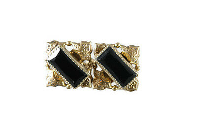 Vintage 20s Faceted Black Glass Earrings Gold Tone Screw Back Rectangular Square