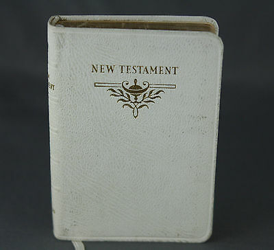 Mini New Testament Vintage 1957 White Leather Bound Gilt Page Ends