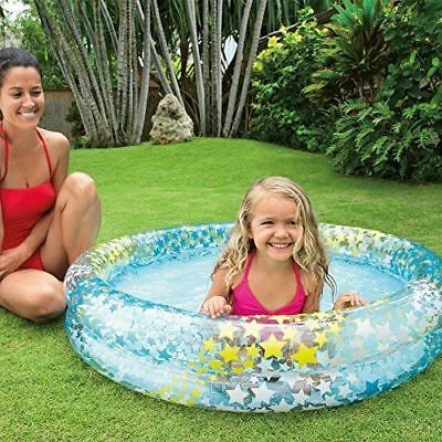 "48""X10"" Inflatable STARS  Kiddie 2 Ring Circles Swimming Pool By Intex Baby POOL"