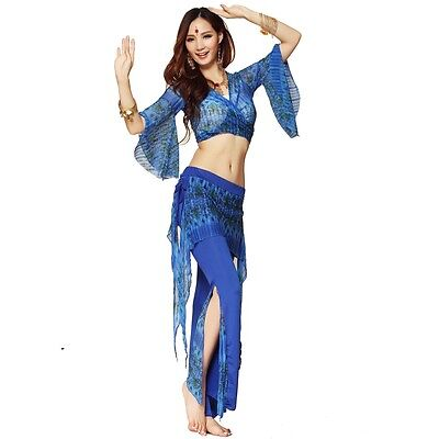 Belly Dance Costume Fancy Outfit Top Pant Indian Tribal Yoga Practice Costume AU
