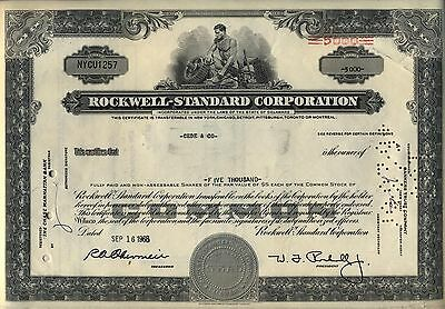 Rockwell Standard Corporation Stock Certificate
