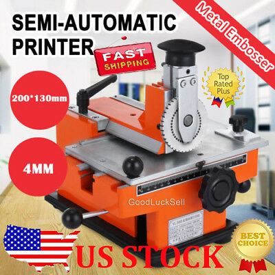 NEW Semi Auto Stamping Embossing Machine Deboss Metal Tag Plate Dog Tag Printer