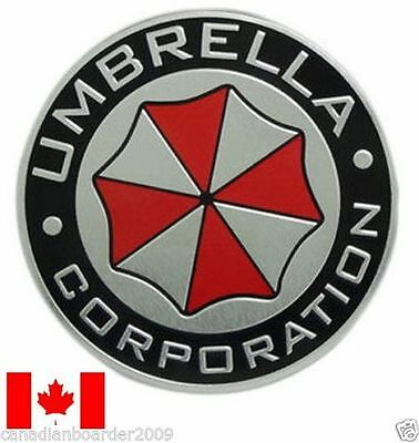 "4½"" UMBRELLA CORPORATION Metal Badge Emblem Sticker Decal Silver Bumper Hood"