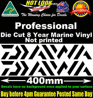 Daiwa Decals x2 HUGE 400mm Wide stickers for boat fishing tackle box fridge