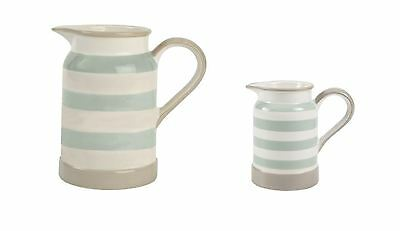 T&G Cream & Country Mint Stripe Jugs, 825ml or 275ml