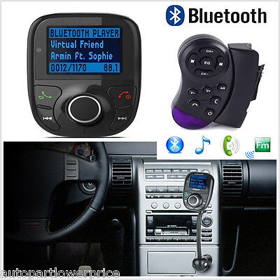 Bluetooth MP3 FM Transmitter Handsfree Car Charger Steering Wheel Remote Control