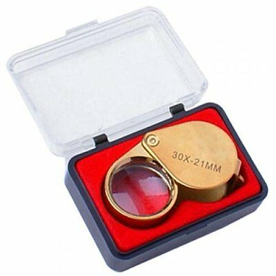 30X 21mm Jewelry Magnifying Glass Loupe Magnifier--Golden BF