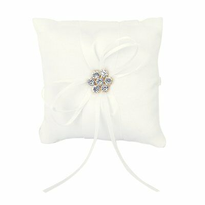 Flower Wedding Party Pocket Ring Pillow Cushion Ivory BF