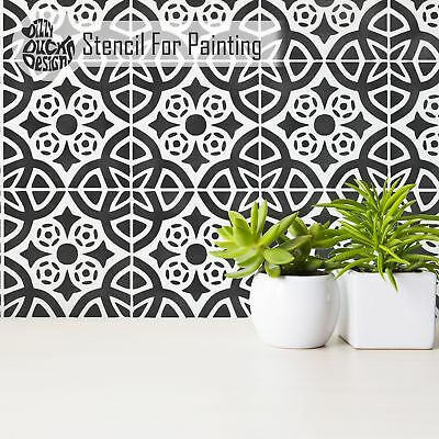 ALMERIA Mediterranean Moroccan Tile - Furniture Wall Floor Stencil for Painting