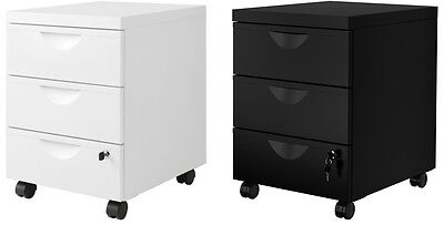 Ikea ERIK Metal Home Office Filing Drawer Unit on Castors + Lock Cabinet,2colors