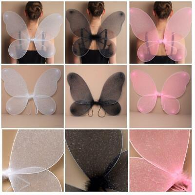 Large Adult Net Fairy Wings With Silver Glitter Fancy Dress Up