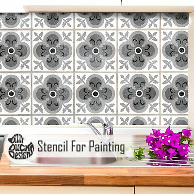HAPPY DAZE Mediterranean Moroccan Tile Furniture Wall Floor Stencil for Painting